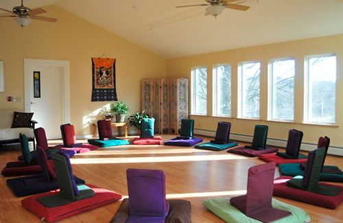 Meditation room for yoga for pelvic health retreat