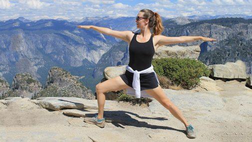 Dustienne Miller in Warrior 1 pose