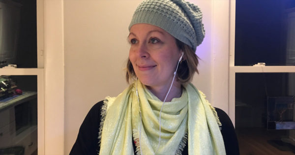 Dustienne Miller listening to podcasts