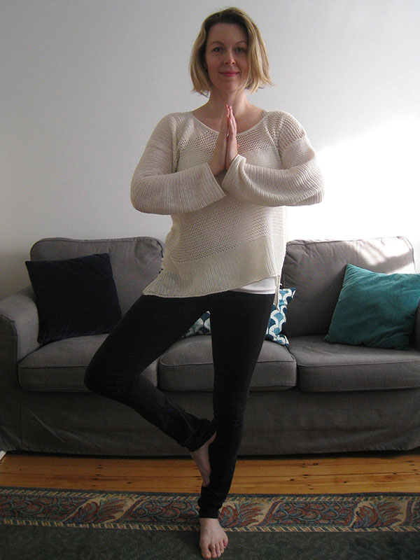 Tree pose with foot on lower leg for prenatal yoga