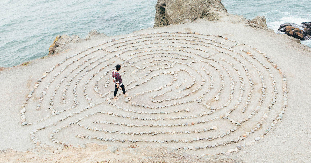 Labyrinth to represent the twists and turns to relieving pelvic pain