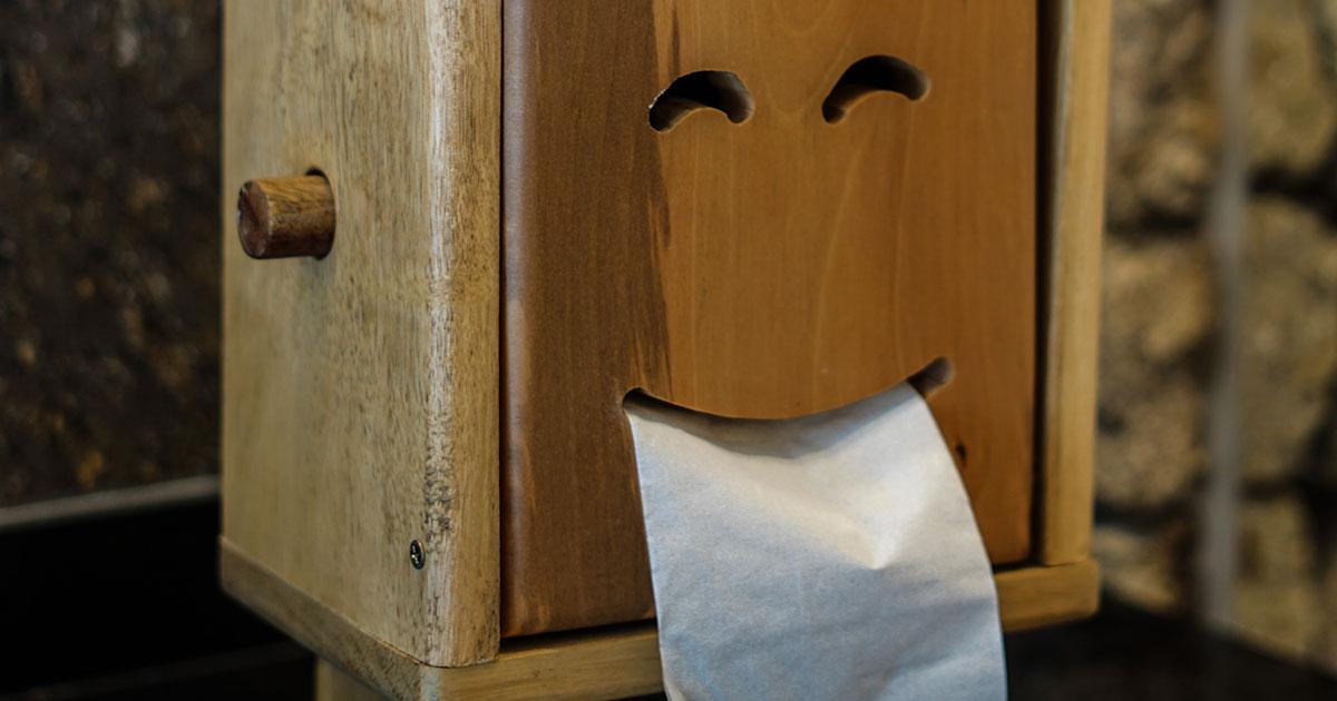 Smiling toilet paper holder